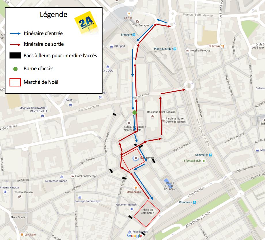 Plan d'accès au marché de Noël de Nantes 2015