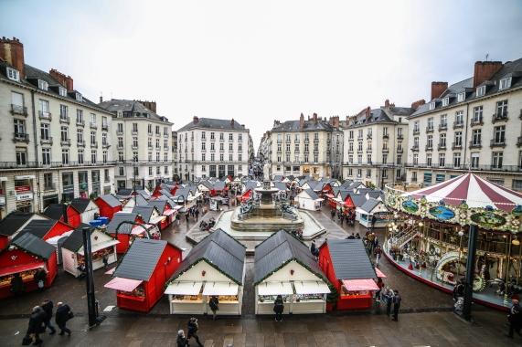 Le Marché de Noël de Nantes vu du haut